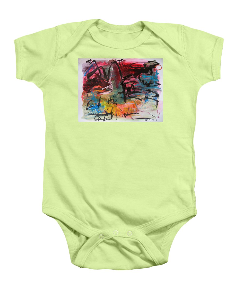 Abstract Landscape Painting Baby Onesie featuring the painting Landscape Sketch27 by Seon-Jeong Kim