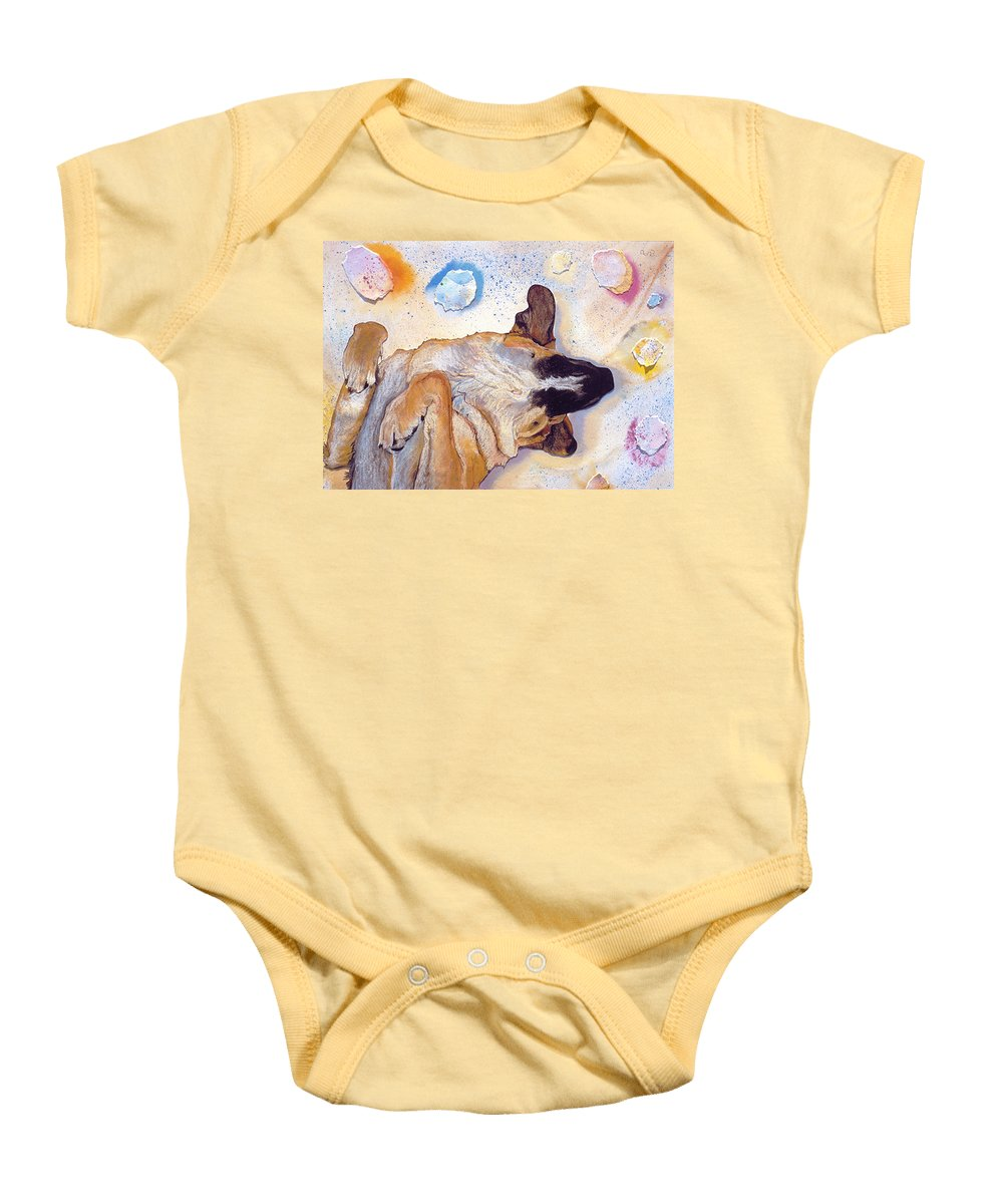 Sleeping Dog Baby Onesie featuring the painting Dog Dreams by Pat Saunders-White