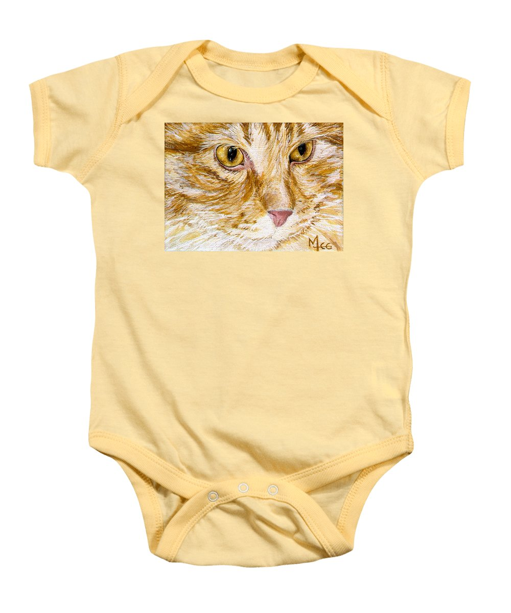 Charity Baby Onesie featuring the painting Leo by Mary-Lee Sanders