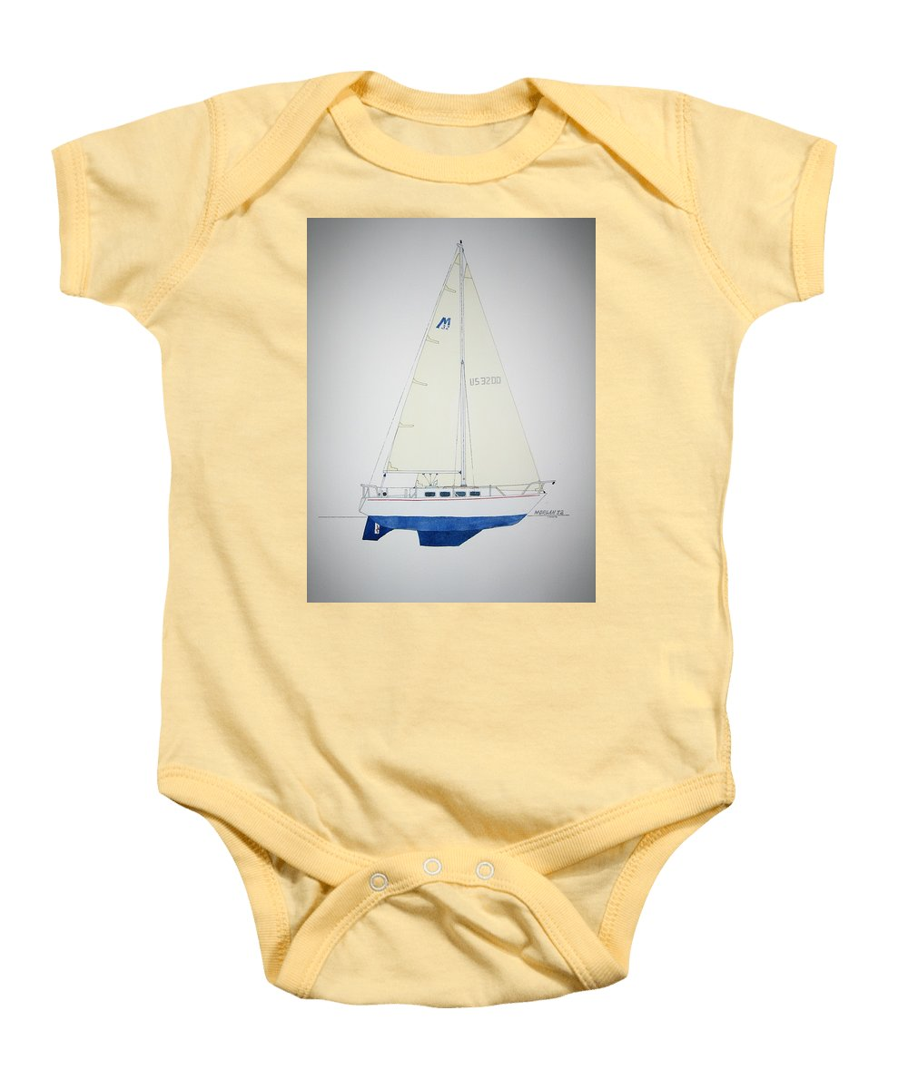 Sail Sailboat Ocean Sea Morgan Boat Nautical Yacht Baby Onesie featuring the painting Morgan 32 by Jeff Lucas