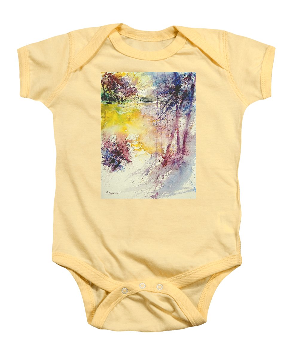 River Baby Onesie featuring the painting Watercolor 007 by Pol Ledent