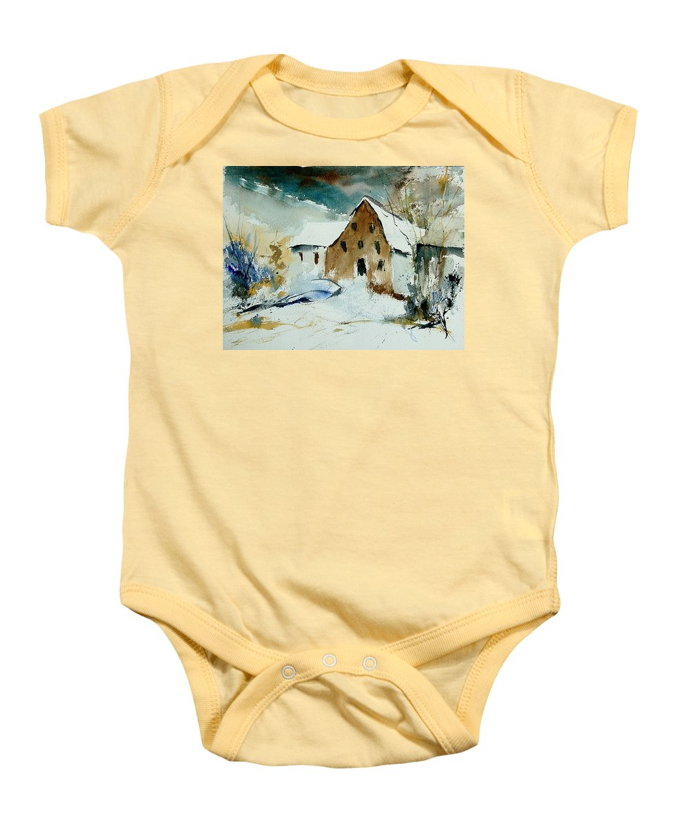 Winter Baby Onesie featuring the painting Watercolor 9696 by Pol Ledent