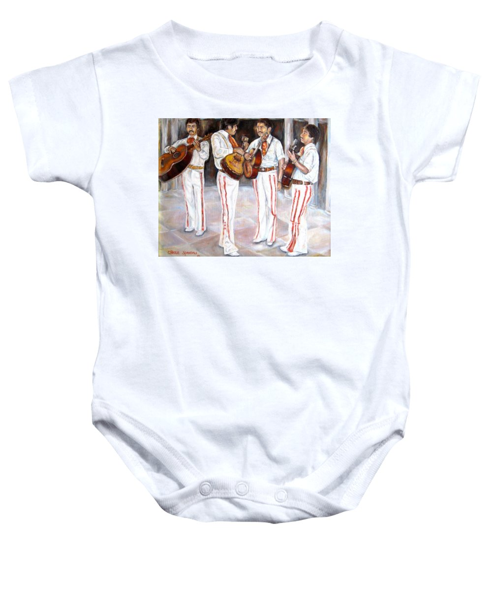 Mariachis Baby Onesie featuring the painting Mariachi Musicians by Carole Spandau