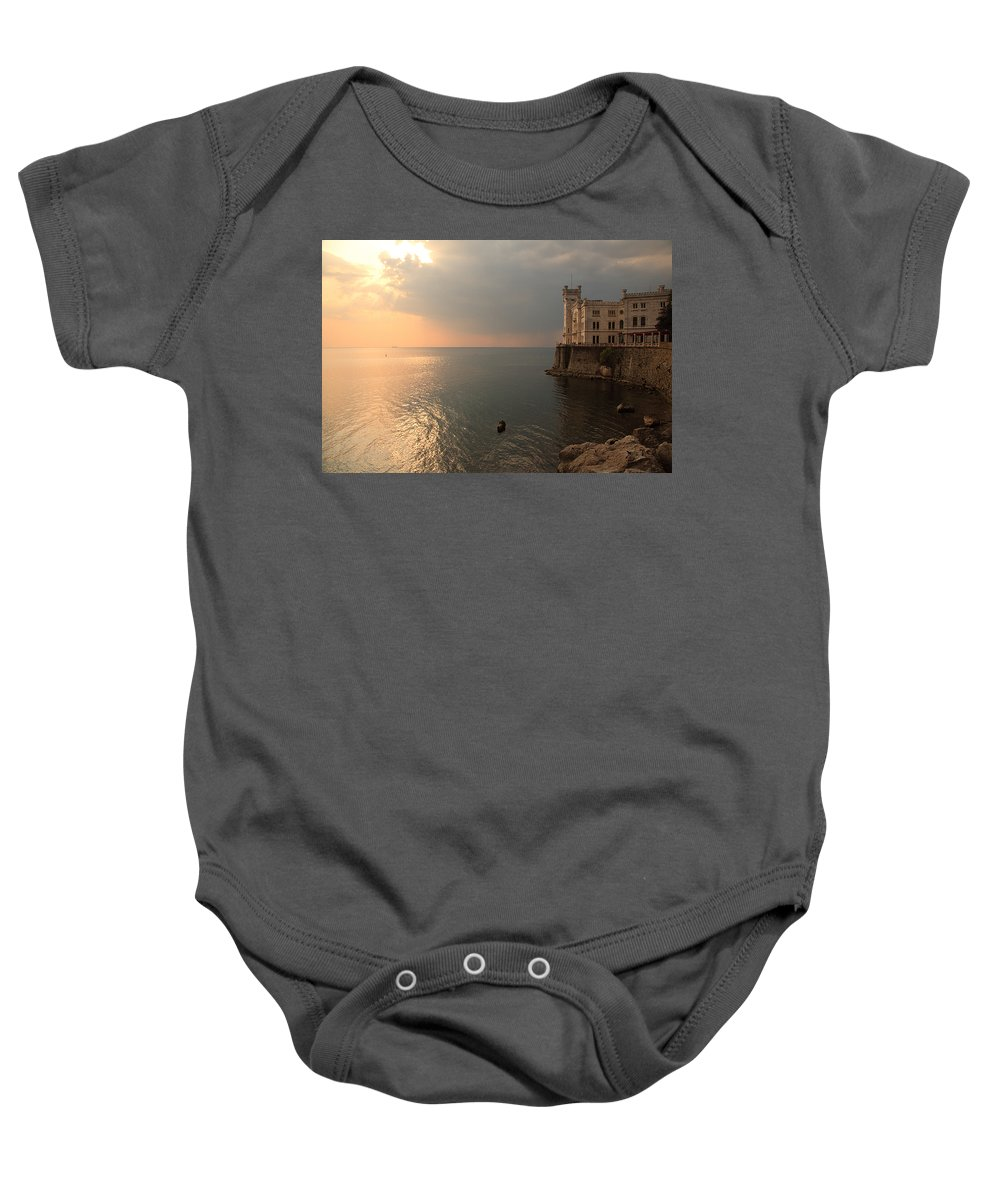 Miramare Baby Onesie featuring the photograph Miramare Sunset by Ian Middleton