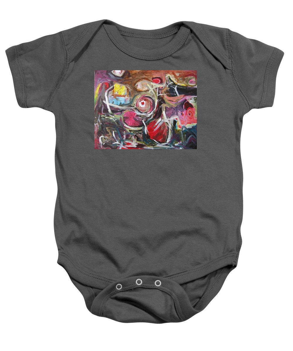 Abstract Paintings Baby Onesie featuring the painting Abandoned Ideas3 by Seon-Jeong Kim