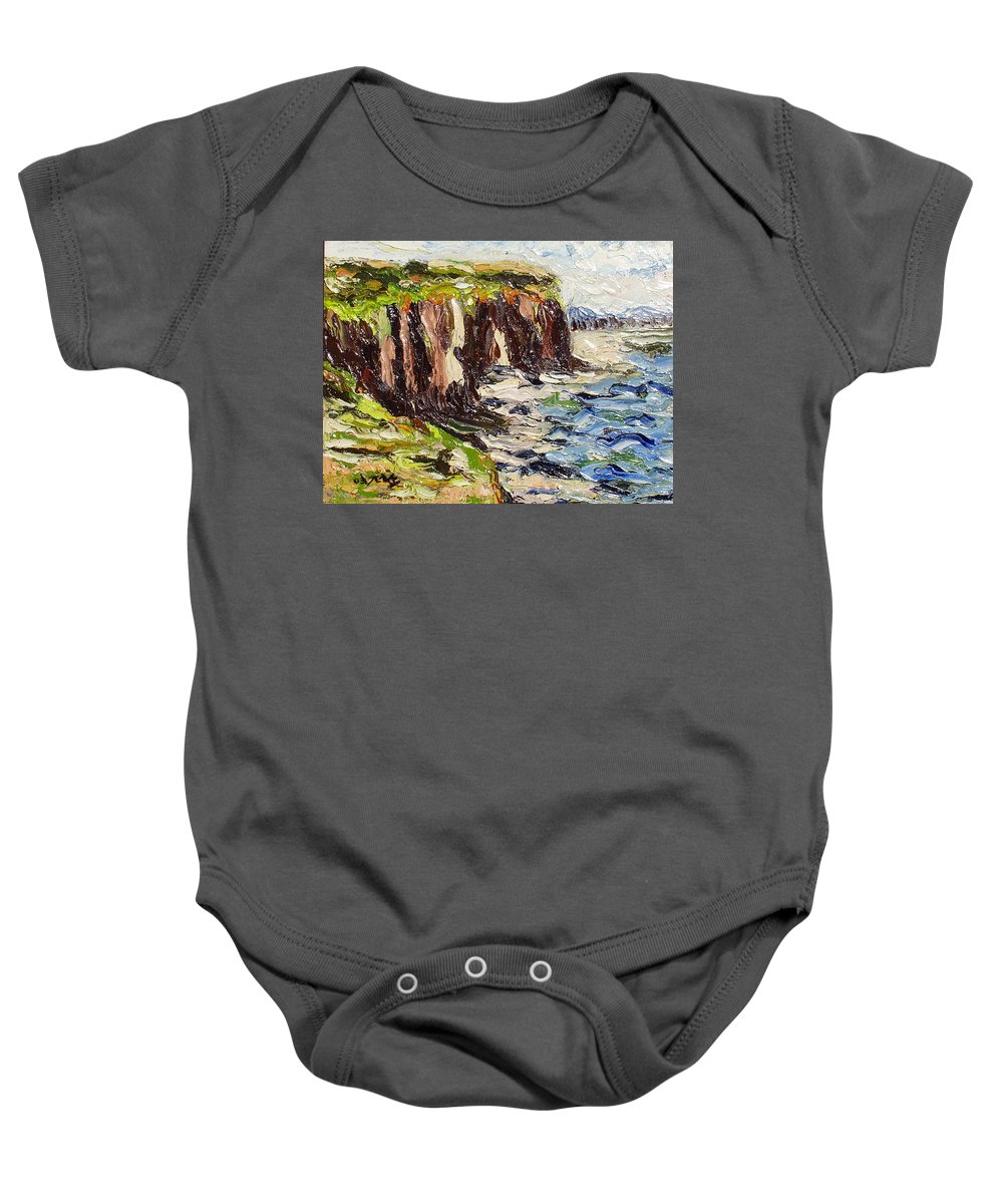 Abstract Paintings Baby Onesie featuring the painting Cliff by Seon-Jeong Kim