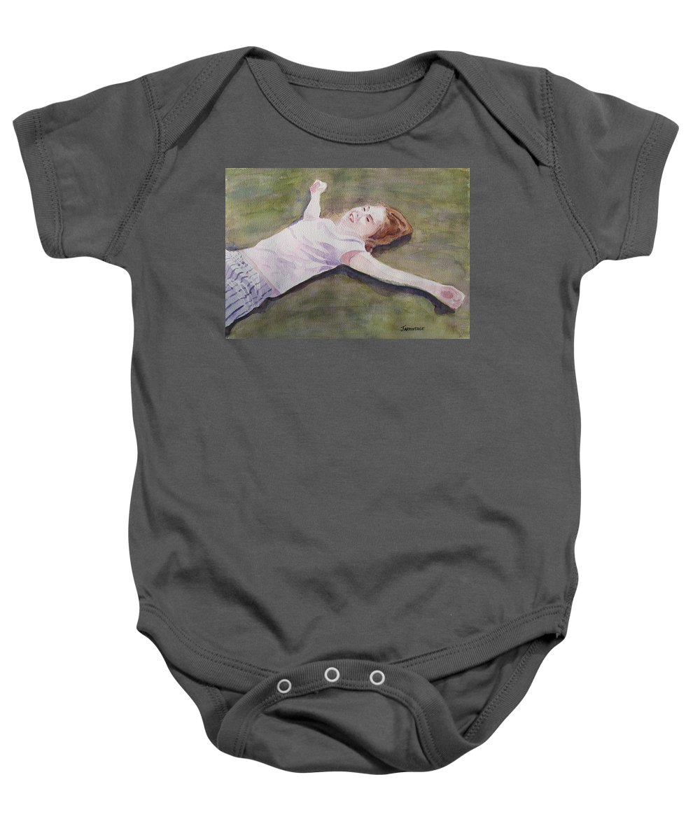 Girl Baby Onesie featuring the painting Floating On The Lawn by Jenny Armitage
