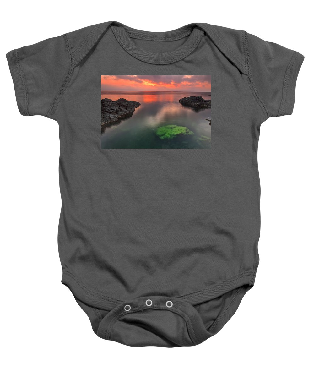 Dawn Baby Onesie featuring the photograph Hidden Green by Evgeni Dinev