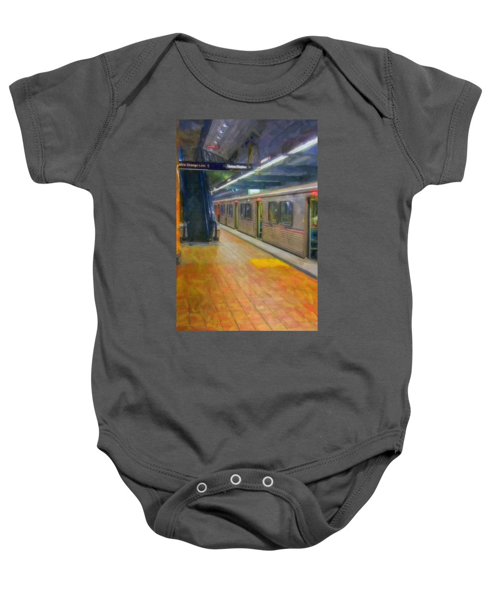 Metro Red Line - Hollywood - Vine Subway Station - Los Angeles Baby Onesie featuring the photograph Hollywood Subway Station by David Zanzinger