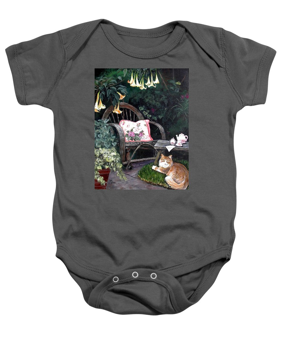 Charity Baby Onesie featuring the painting My Secret Garden by Mary-Lee Sanders