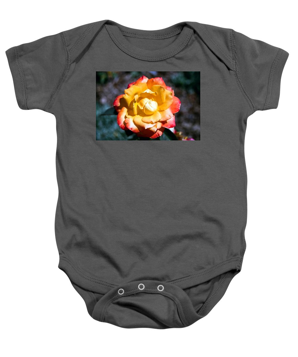 Rose Baby Onesie featuring the photograph Red Tipped Yellow Rose by Dean Triolo