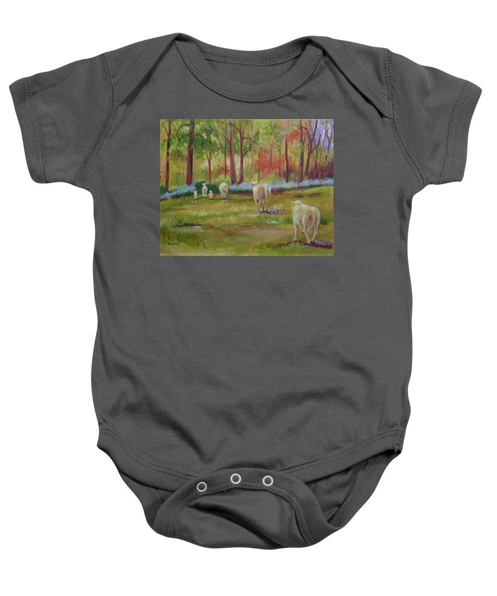 Sheep Baby Onesie featuring the painting Sheeple by Ginger Concepcion