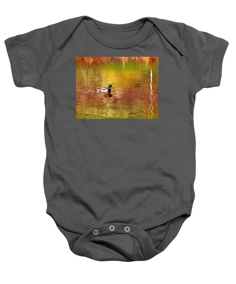Reflections Baby Onesie featuring the photograph Swimming In Reflections by Tara Turner