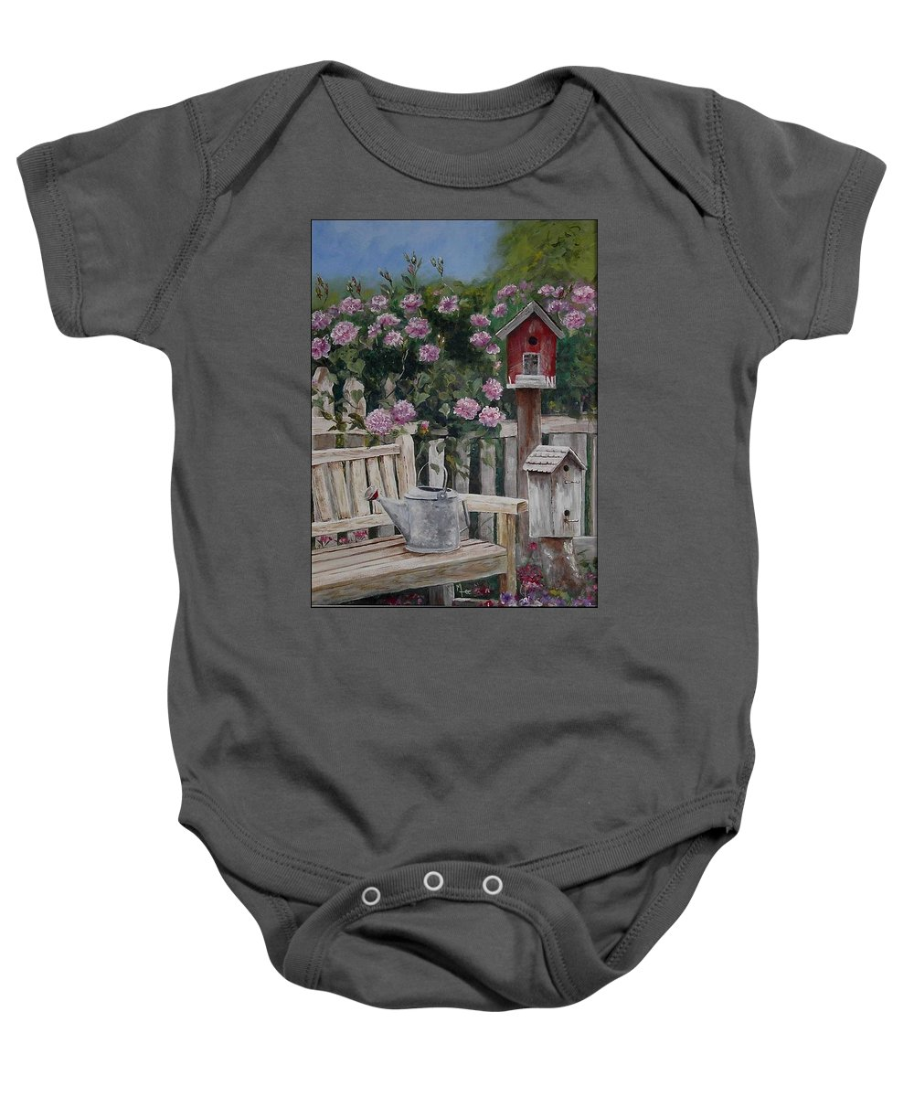 Charity Baby Onesie featuring the painting Take A Seat by Mary-Lee Sanders