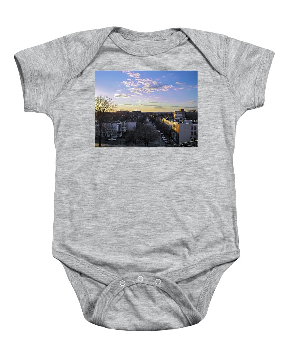 2d Baby Onesie featuring the photograph Sunset Row Homes by Brian Wallace