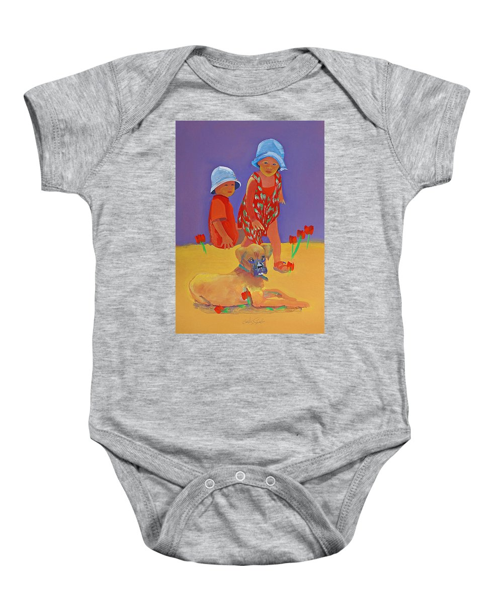 Boxer Dog Baby Onesie featuring the painting The Boxer Puppy by Charles Stuart