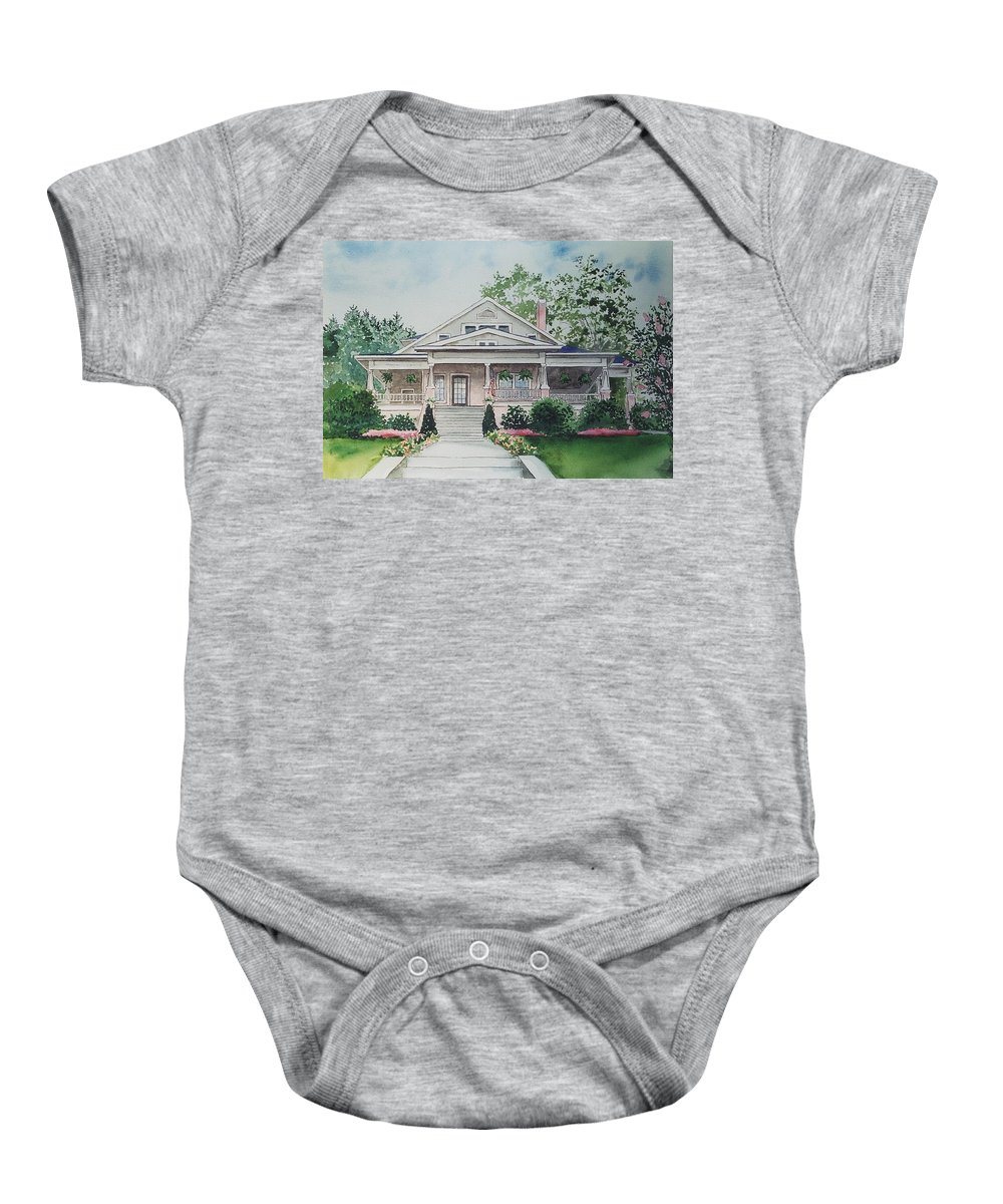 Print Of Blowing Rock Building Baby Onesie featuring the painting Blowing Rock Office by Maggie Clark