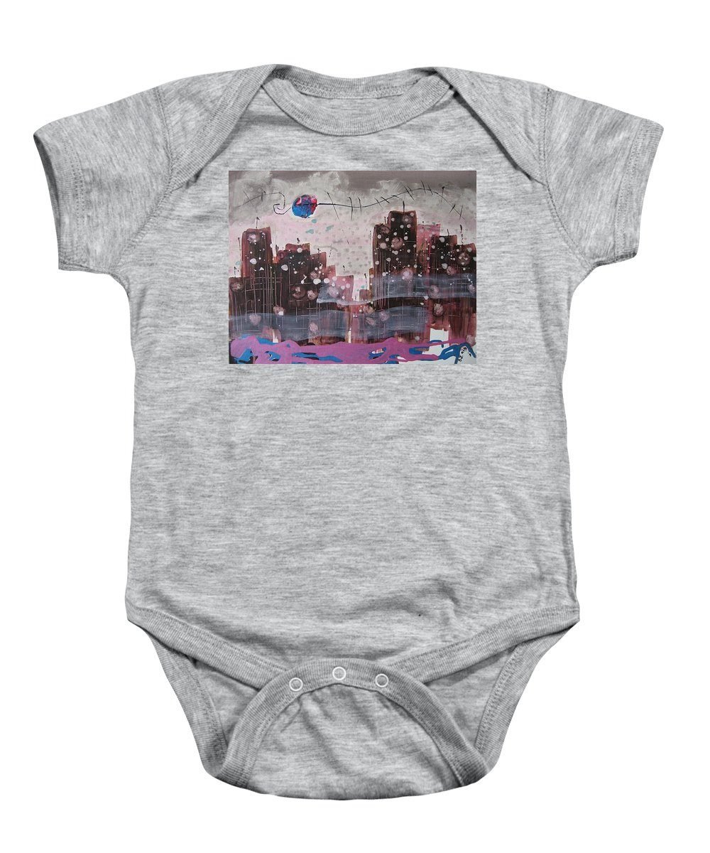 Brown Paintings Baby Onesie featuring the painting Cityscape by Seon-Jeong Kim