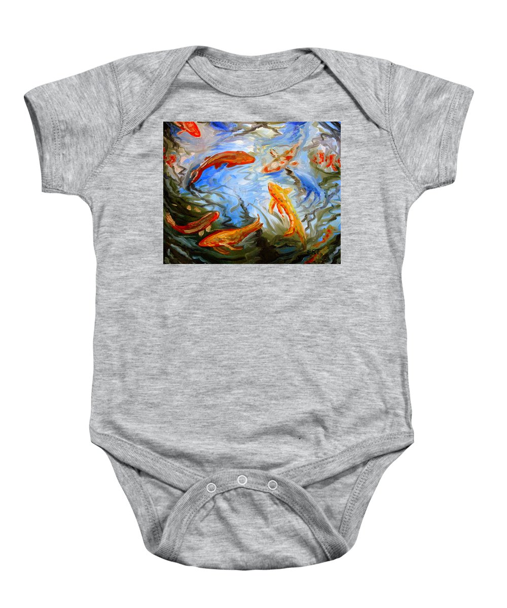 Oil Baby Onesie featuring the painting Fish Reflections by Elizabeth Robinette Tyndall