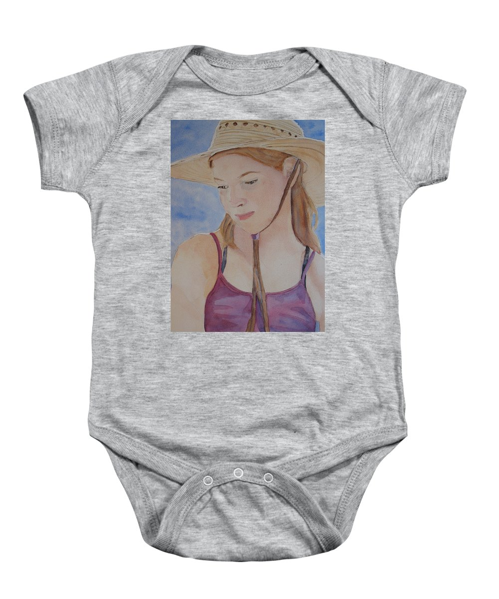 Girl Baby Onesie featuring the painting Hat And Shoulders by Jenny Armitage