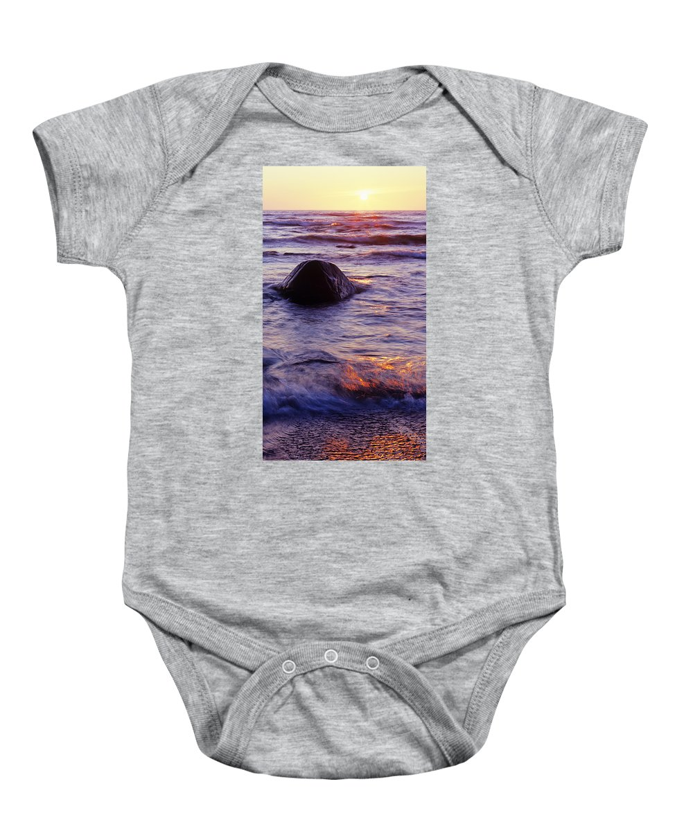 Abstract Baby Onesie featuring the photograph Sunset Lights by Konstantin Dikovsky