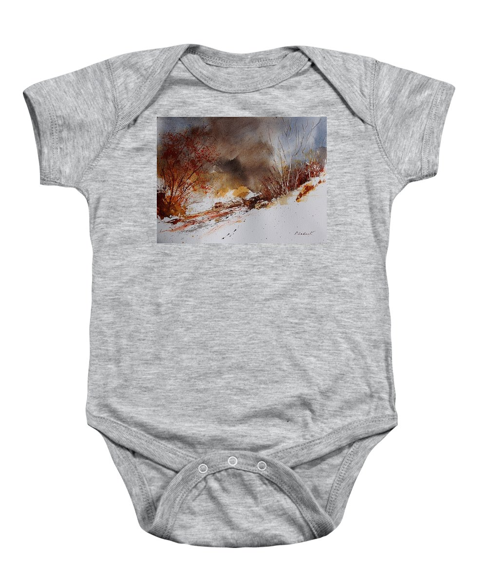 Winter Baby Onesie featuring the painting Watercolor 100508 by Pol Ledent
