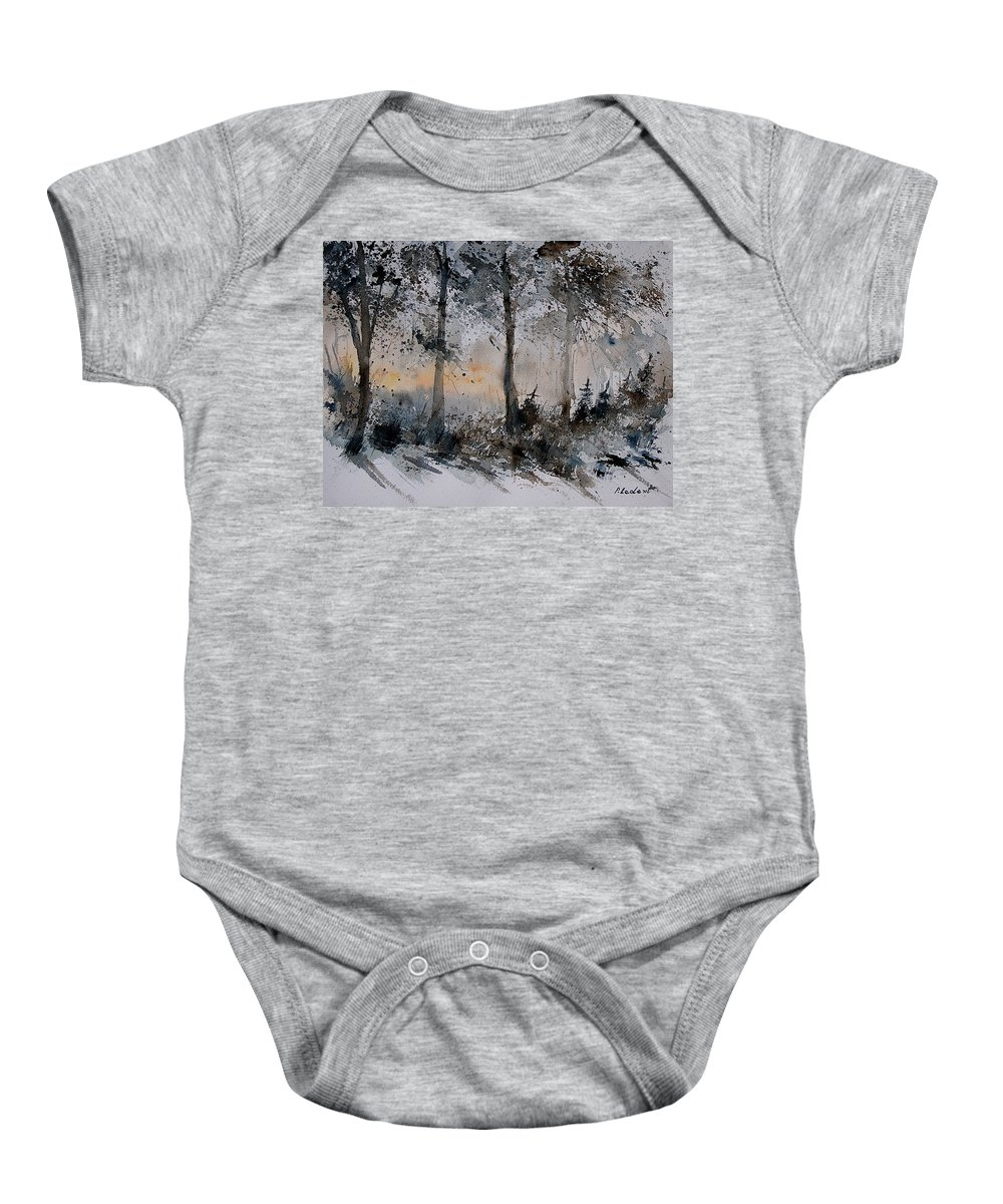 Tree Baby Onesie featuring the painting Watercolor 141206 by Pol Ledent
