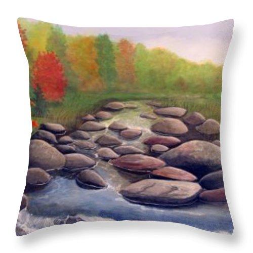 Rick Huotari Throw Pillow featuring the painting Cherokee Park by Rick Huotari