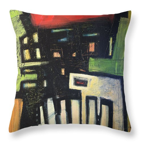 Abstract Throw Pillow featuring the painting D Flat by Tim Nyberg