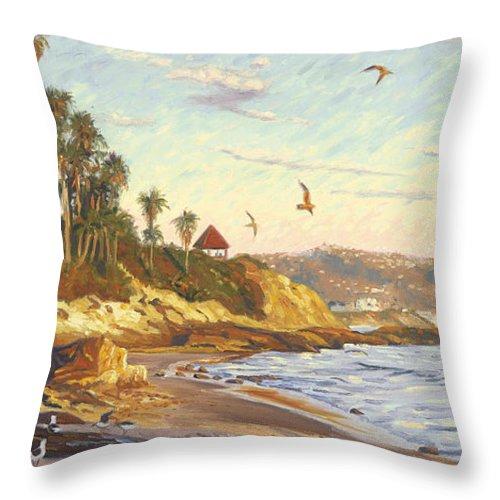 Twilight Throw Pillow featuring the painting Heisler Park Rockpile At Twilight by Steve Simon