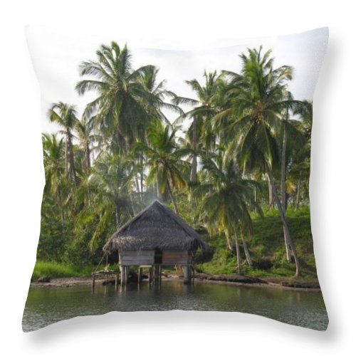 Tropics Water Sepia Bocas Panama Indian Life Palm Trees Island Beach Ngobe Bugle Comarca Cayuco Hut Over Water Throw Pillow featuring the photograph Isla Tigre - Hut Over Water And Palm Trees by Elle Nicolai