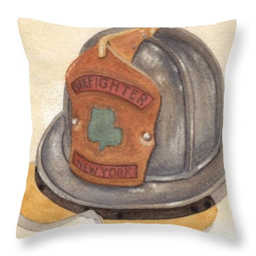 Fire Throw Pillow featuring the painting Proud To Be Irish Fire Helmet by Ken Powers