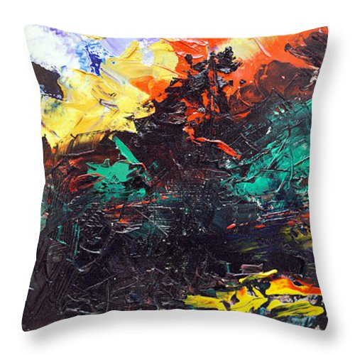 Vision Throw Pillow featuring the painting Schizophrenia by Sergey Bezhinets