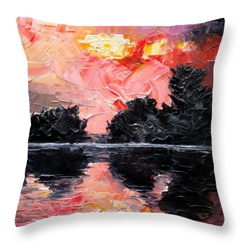 Lake After Storm Throw Pillow featuring the painting Sunset. After Storm. by Sergey Bezhinets