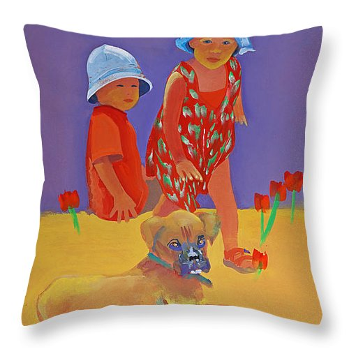 Boxer Dog Throw Pillow featuring the painting The Boxer Puppy by Charles Stuart