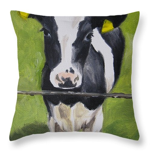 Noewi Throw Pillow featuring the painting A Heifer by Jindra Noewi
