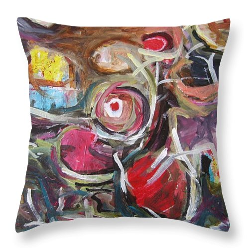 Abstract Paintings Throw Pillow featuring the painting Abandoned Ideas3 by Seon-Jeong Kim
