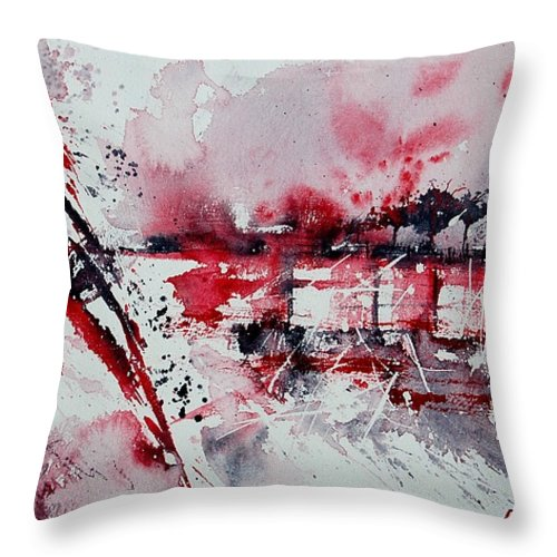 Abstract Throw Pillow featuring the painting Abstract 12 by Pol Ledent