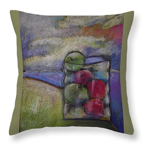Granny Smith Throw Pillow featuring the painting Apples On A Shoreline by Angelina Marino