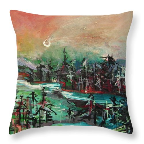 Abstract Paintings Throw Pillow featuring the painting Bummer Flat4 by Seon-Jeong Kim