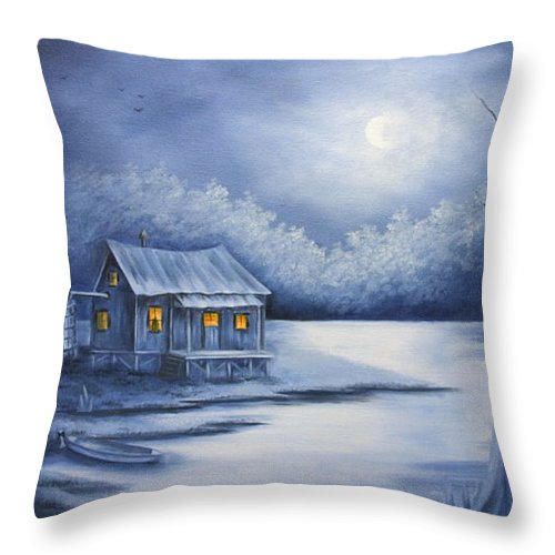 Seascape Throw Pillow featuring the painting Cajun Christmas by Ruth Bares