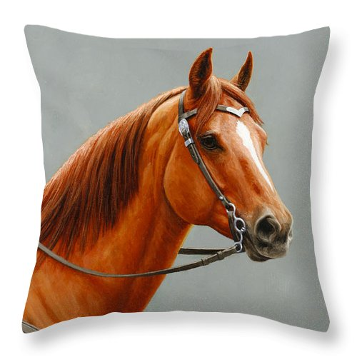 Horse Throw Pillow featuring the painting Chestnut Dun Horse Painting by Crista Forest