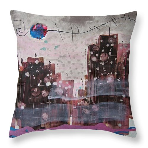 Brown Paintings Throw Pillow featuring the painting Cityscape by Seon-Jeong Kim