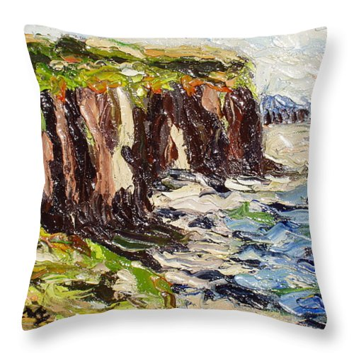 Abstract Paintings Throw Pillow featuring the painting Cliff by Seon-Jeong Kim