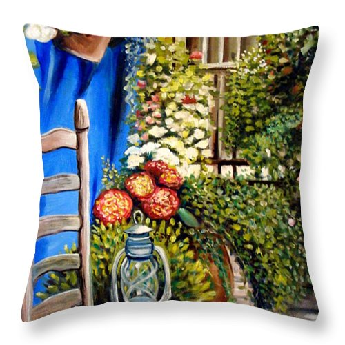 Floral Throw Pillow featuring the painting Colbolt by Elizabeth Robinette Tyndall