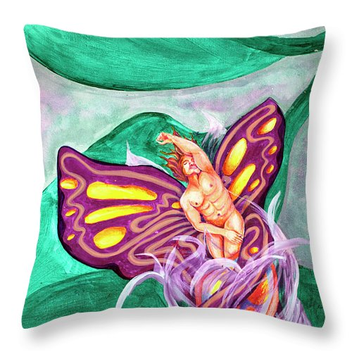 Coming Out Throw Pillow featuring the painting Coming Out by Bobby Jones