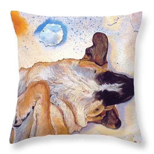 Sleeping Dog Throw Pillow featuring the painting Dog Dreams by Pat Saunders-White