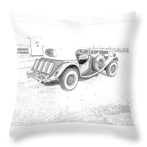 Drawing Throw Pillow featuring the photograph Drawing The Antique Car by Michelle Powell