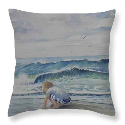 Ocean Throw Pillow featuring the painting Finding Sand Crabs by Tom Harris