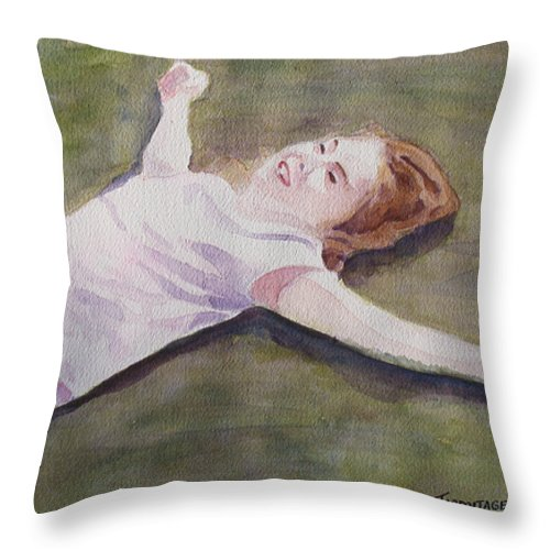 Girl Throw Pillow featuring the painting Floating On The Lawn by Jenny Armitage